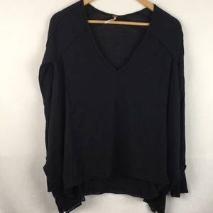 Free People Oversized Black  Thermal Top